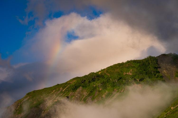 唐松岳 八方池 雲海 日の出 虹