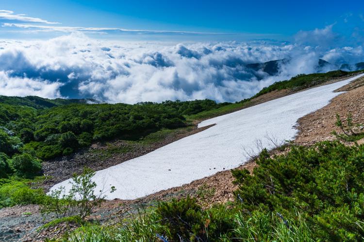 唐松岳 登山 トレッキング 扇雪渓