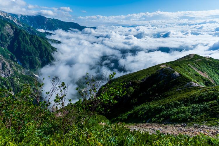 唐松岳 トレッキング 丸山ケルン 登山道