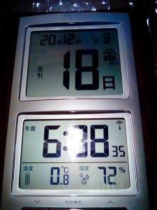 2020年12月18日6時、室温1度未満