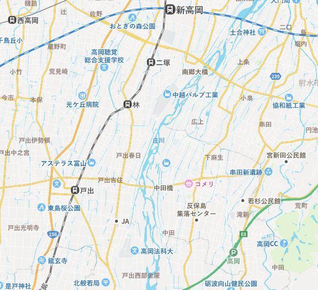 高岡市庄川地図