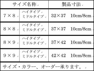 クッションカバー サイズ表