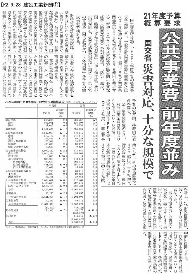 20200928 21年度予算概算要求・国交省:建設工業新聞①-2