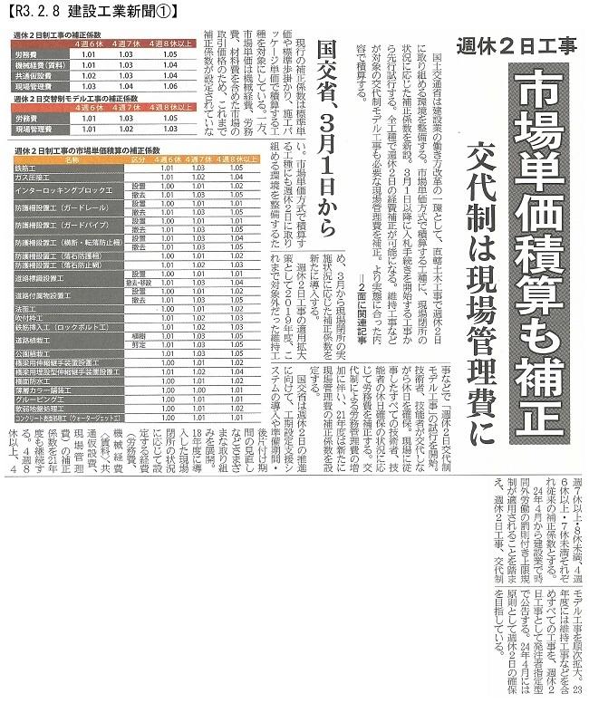 20210208 21年度土木積算基準等を改定・国交省:建設工業新聞①